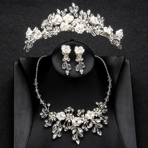 White Rose Crystal Stainless Princess Tiara Set