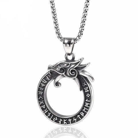 Ouroboros Dragon Nordic Rune Stainless Steel Necklace