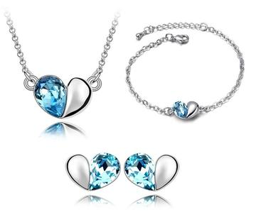 3PC Pearl Austrian Crystal Heart Bridal Set (8 Available Colors)
