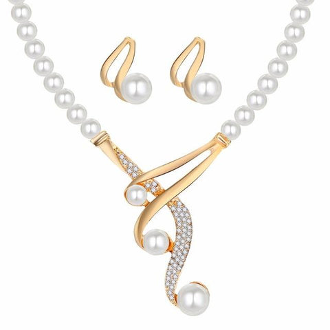 Studded Gold Plated Coil Pearl Earrings & Necklace