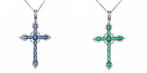 Rhodium-Plated Brass Paved Colored Zirconia Cross Necklace