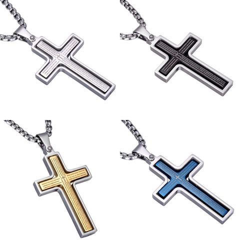 Plated Rotating Cross Latin Lord's Prayer Necklace