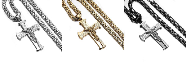 Stainless Steel Crucifix Latin Lord's Prayer Necklace