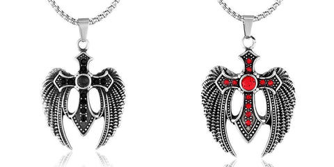 Winged Colored CZ Stainless Steel Cross Pendant Necklace