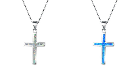Sterling Silver Blue Opaline Cross Necklace