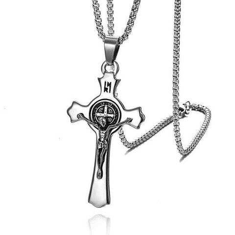 Stainless Steel Religious Crucifix Pendant Necklace