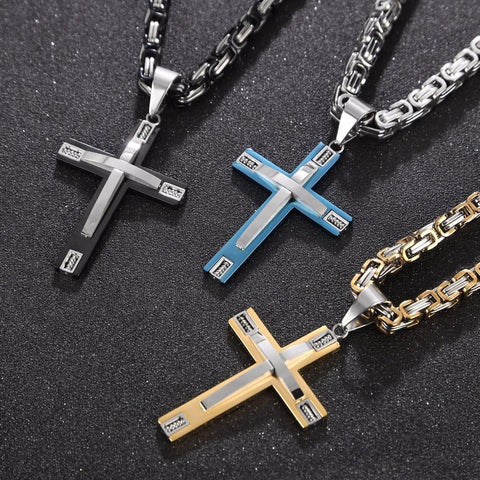 Dual-Tone Stainless Steel Cross Byzantine Necklace