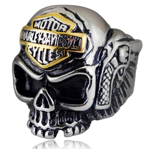 Gold & Black Stainless Steel Motorbike Skull Ring