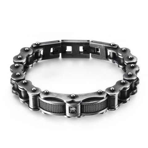 Rustic Stainless Steel CZ Motorcycle Chain Bracelet