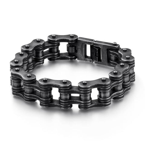 Black Silver Stainless Steel Roller Motorcycle Chain Bracelet