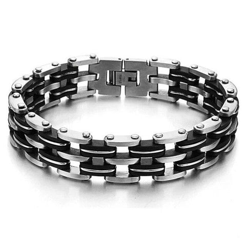 Stainless Steel Black Silicone Motorcycle Bracelet