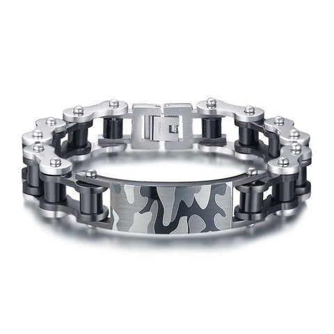 Gray Camouflage Stainless Steel Motorcycle Chain Bracelet