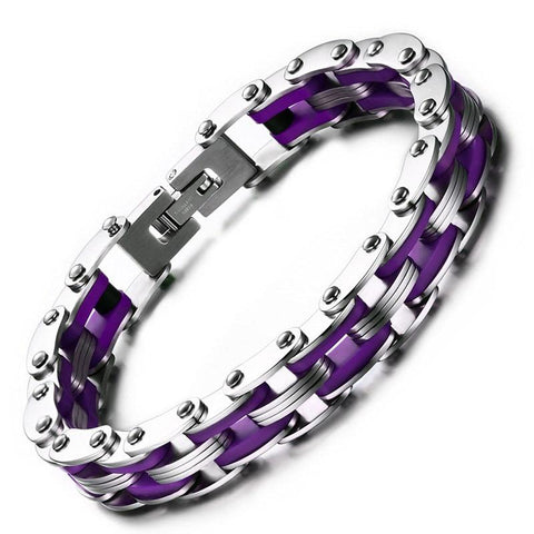 Stainless Steel Purple Silicone Motorcycle Chain Bracelet