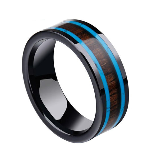 Blue Brown Wood Inlay Black Ceramic Wedding Ring