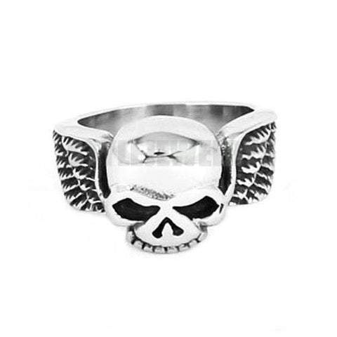 Stainless Steel Wheel Number One Winged Skull Ring