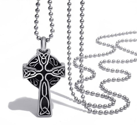 Phantom Celtic Knot Stainless Steel Cross Pendant Necklace
