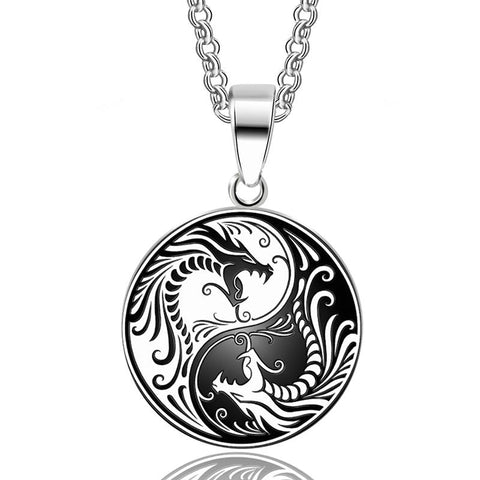 Yin & Yang Stainless Steel Asian Dragon Pendant Necklace