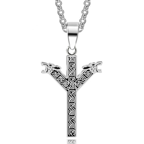 Stainless Norse Protection Rune Celtic Knot Pendant Necklace