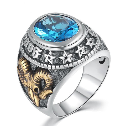 Sterling Silver Star Blue CZ Gold Ram Skull Signet Ring