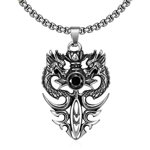 Stainless Silver Flaming Sword Vis-A-Vis Dragon Pendant Necklace