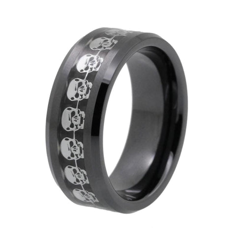 Black Tungsten Carbide Silver carbon Fiber Skull Ring