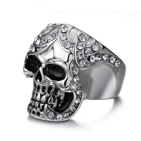 Stainless Steel Calavera Cubic Zirconia Skull Ring