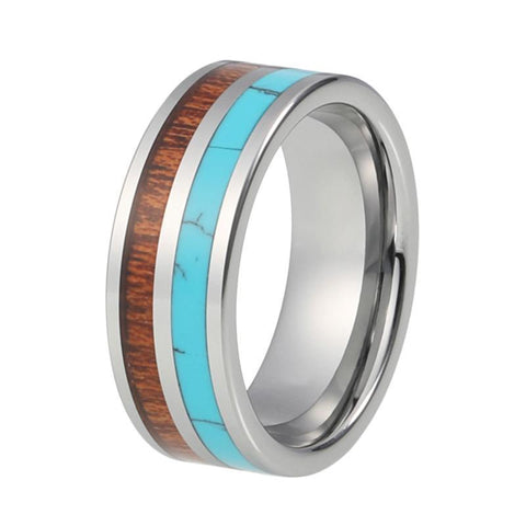 Turquoise Wood Double Inlay Tungsten Carbide Wedding Ring