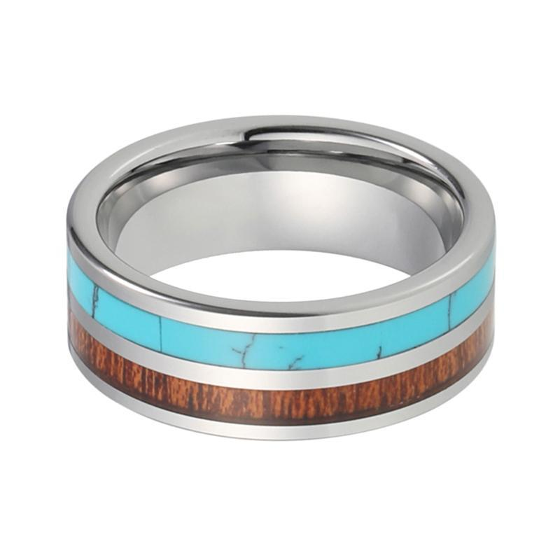 8mm Natural Wood and Turquoise Inlay with Silver Plate Tungsten Carbide Wedding Band