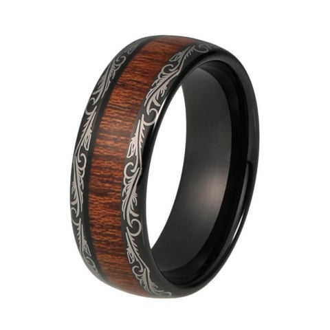 Feathered Brown Wood Black Tungsten Carbide Wedding Ring