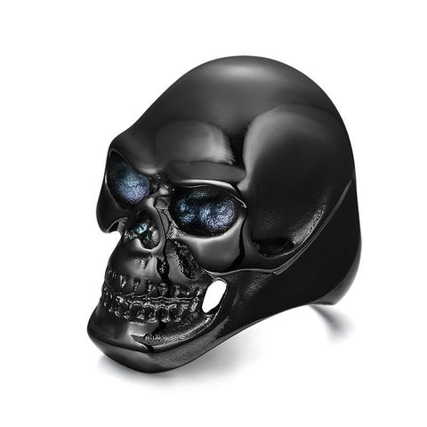 Black Stainless Steel Blue Eyed CZ Skull Ring