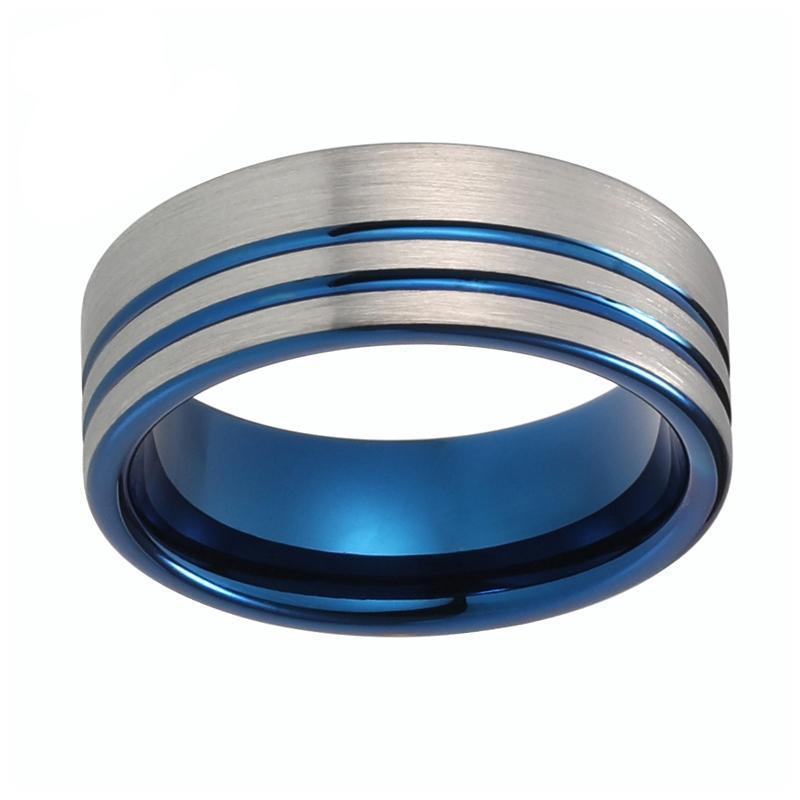 Double Groove Offset Silver Brushed Matte Blue Tungsten Carbide Wedding Ring