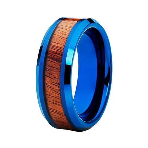 Wood Inlay Metallic Blue Tungsten Carbide Wedding Ring
