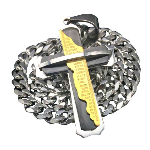 Punk Multi-Tone Stainless Steel Cross Necklace