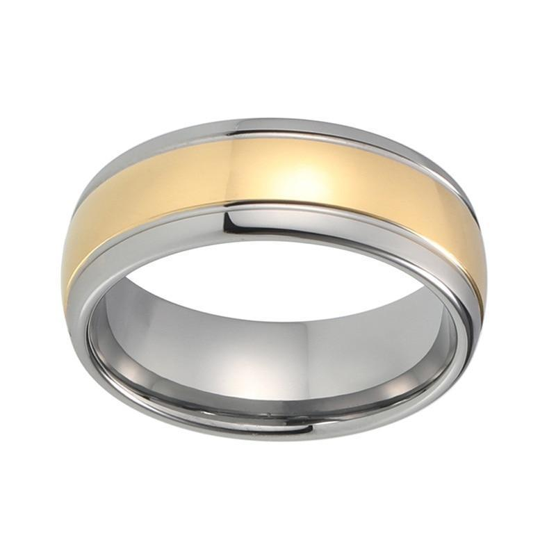 8mm Two-Tone Silver and Gold Plated Grooved, Domed Shape Tungsten Carbide Ring