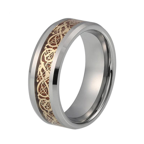 Gold Celtic Dragon Wood Inlay Tungsten Carbide Wedding Band