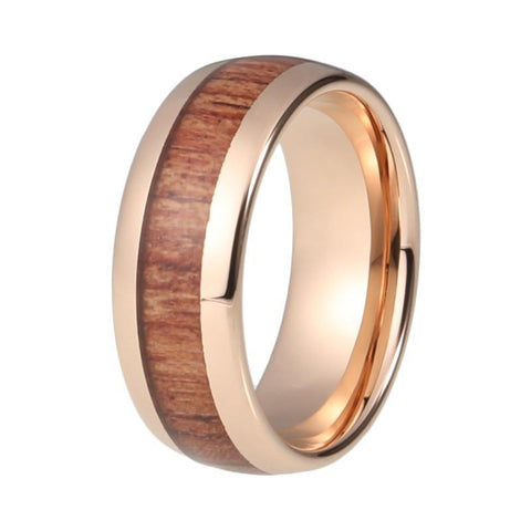 Rose Gold Warm Brown Wood Tungsten Carbide Wedding Ring