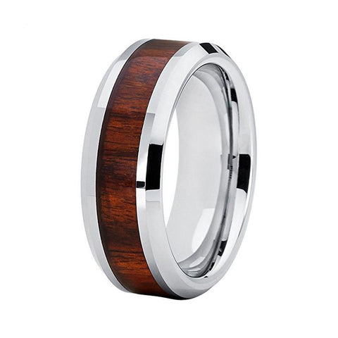 Silver Striated Rosewood Tungsten Carbide Wedding Ring