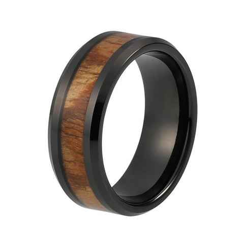 Natural Redwood Black Tungsten Carbide Wedding Ring