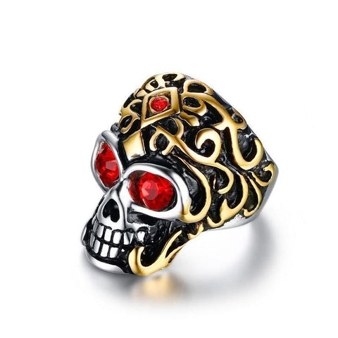 Gold & Black Stainless Steel Crimson Red CZ Skull Ring