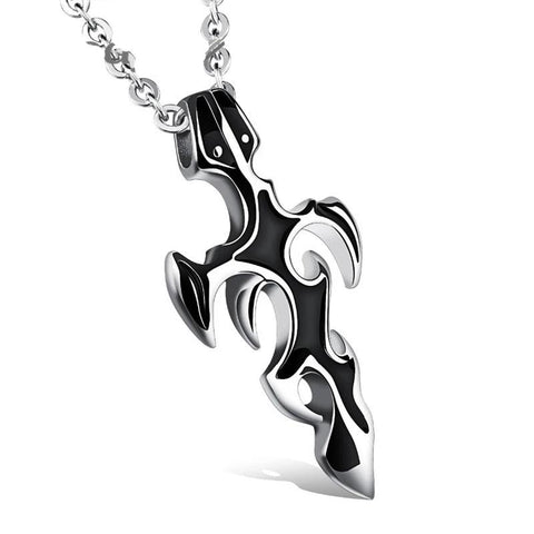 Two-Tone Stainless Steel Dagger Cross Pendant Necklace