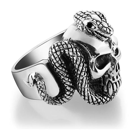 Oxidized Sterling Silver Serpent Skull Ring