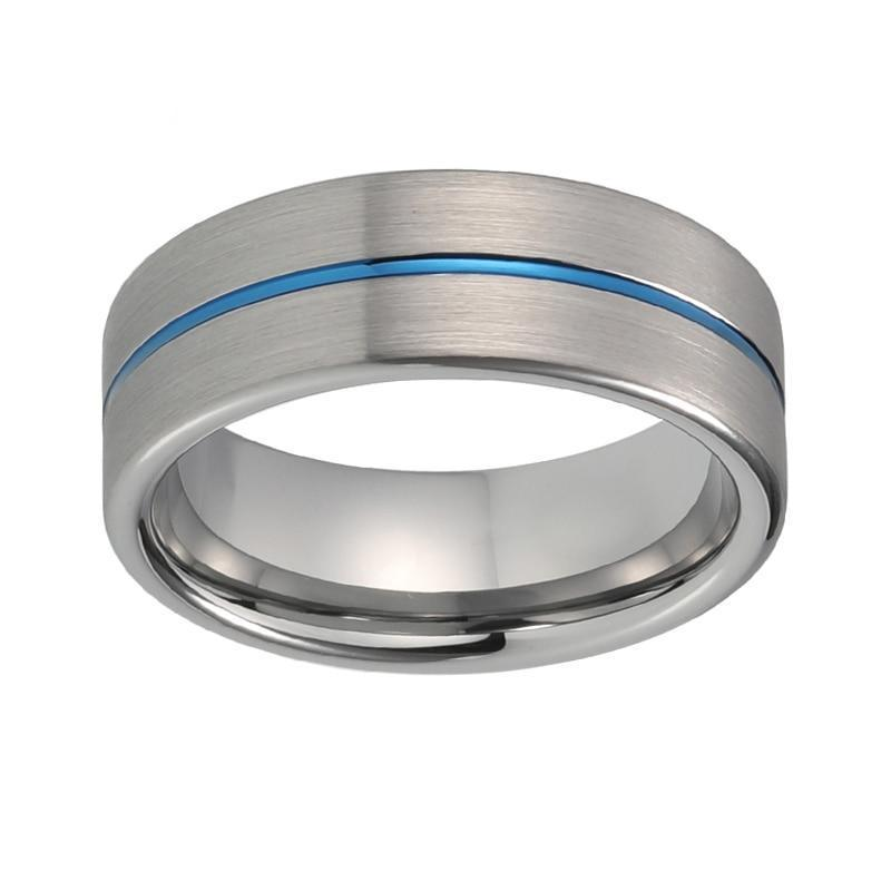 8mm Silver Matte Tungsten Carbide Surface with Blue Groove Wedding Ring