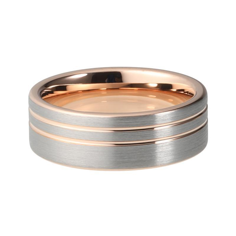 Rose Gold Color Tungsten Carbide Offset Pipe Cut Brushed Matte Ring