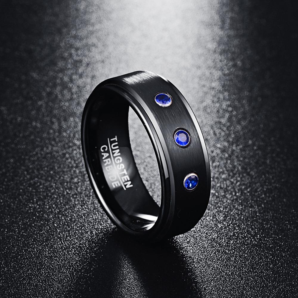 8mm Black Polished Tungsten Carbide Ring with Three CZ Stones