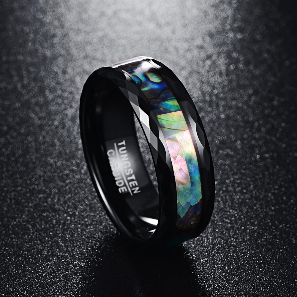 8mm Elegant Abalone Color Inlay with Geometric Facets Band Tungsten Wedding Ring