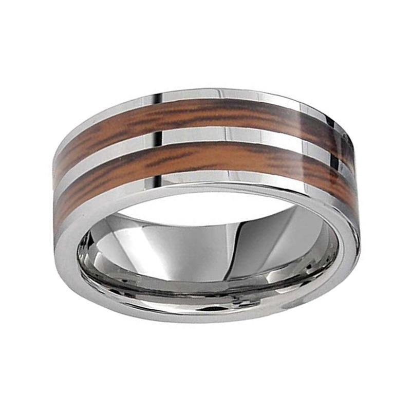 8mm Hard Mahogany Inlay with White Polished Silver Tungsten carbide Wedding Ring