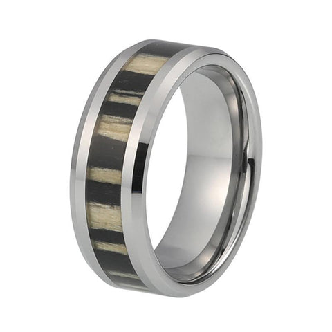 Silver-Tone Zebra Wood Tungsten Carbide Wedding Ring