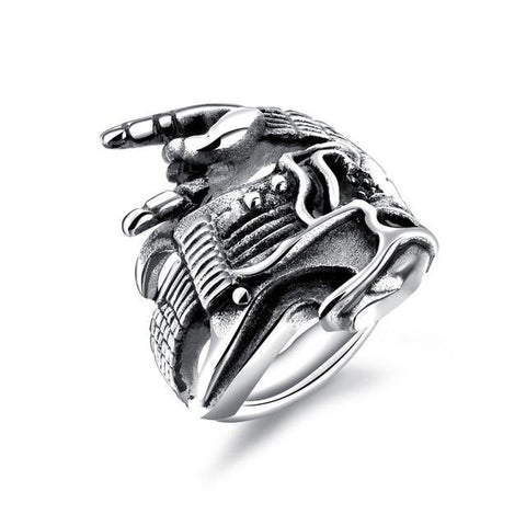 Metal Music Victory Hand Stainless Steel Skull Ring