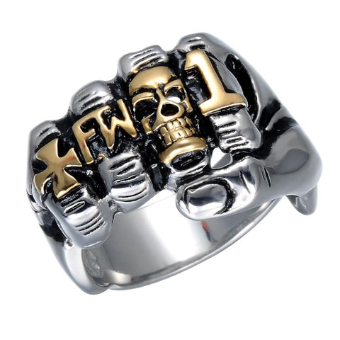 Gold & Silver Stainless Steel FW1 Knuckle Fist Skull Ring