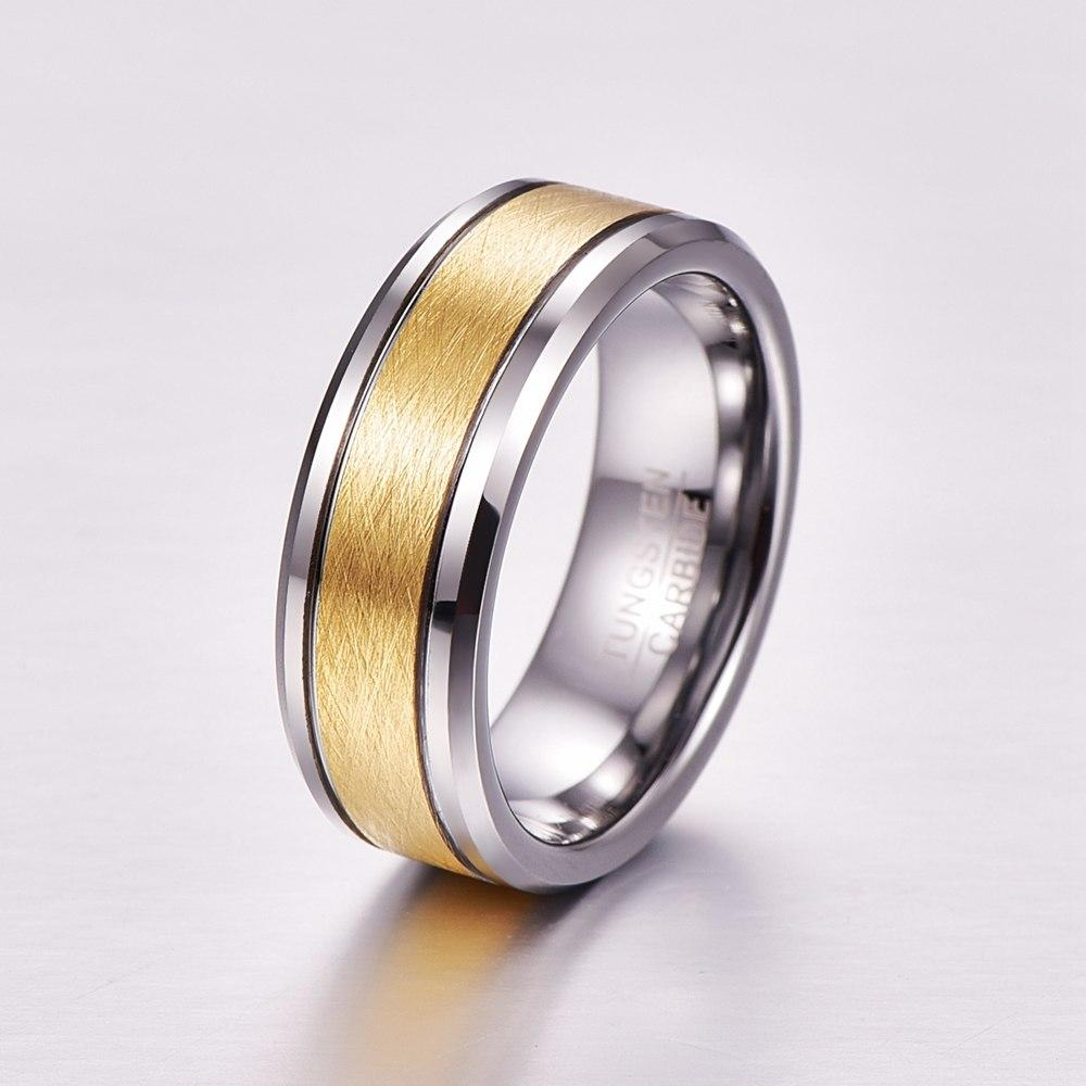 Golden Brown Center with Geometric Silver Coated Tungsten Carbide Wedding Ring